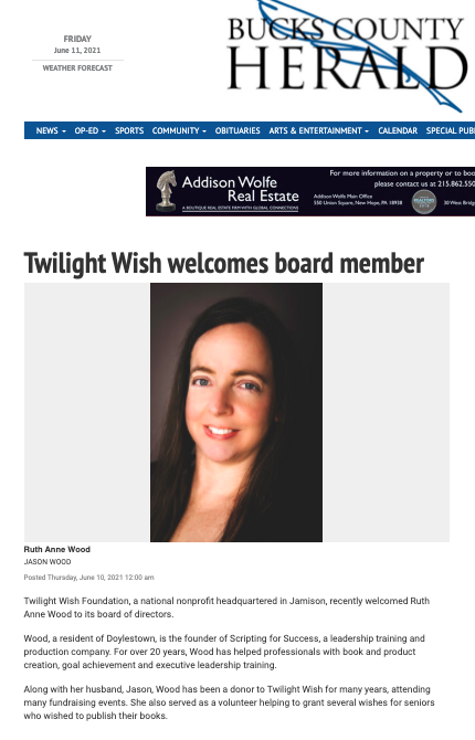 Twilight Wish welcomes board member